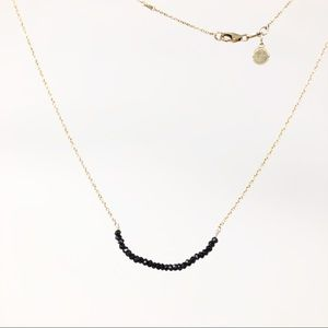Stella & Dot Delicate Black Crystals Gold Necklace